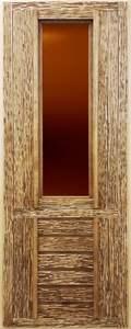 Дверь со стеклом, искусственно состаренная (липа)